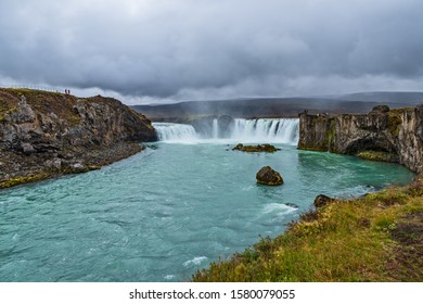 landscape of the Godafoss famous waterfall in Iceland. The breathtaking landscape of Godafoss waterfall attracts tourist to visit the Northeastern Region of Iceland. September 2019