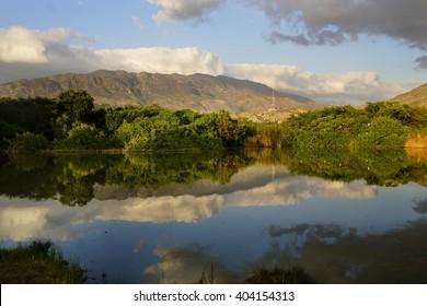 Landscape, Golden hour sunset on the lake, Montrouis, Haiti