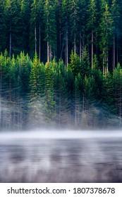 Landscape of Golyam Beglik lake in Rhodope Mountains at summer morning
