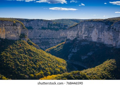 Landscape of Gorges de l'Ardeche in France during a sunny day