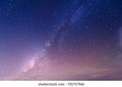 Landscape with gradient blue purple Milky way galaxy. Night sky with stars.