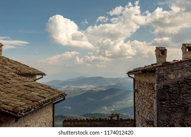 Landscape, Gran Sasso Mountains, View from Rocca Calascio, beautiful hills on the High Mountain in summer Time. Abruzzo Italy,