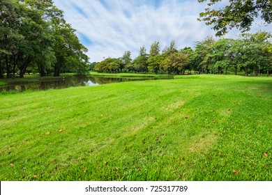 landscape of grass field in park or garden surrounded with green tree and water pond this place for relaxing exercise running or walking in park with moving cloud above blue sky