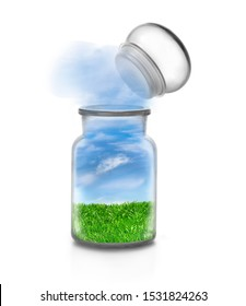 Landscape with grass inside a chemical bottle on white background and flying stopper. Frendly sky flowing outside. Funny ecological and sustainable concept.