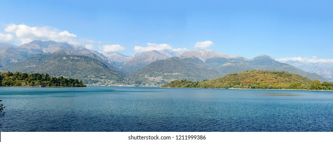 landscape of green Como lake with the capes delimiting Piona inlet