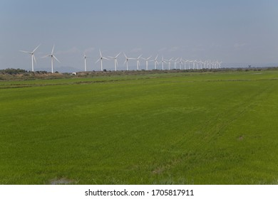 Landscape- green field in village of France. Windmills are on the horizon. Alternative ecological power plant in Europe.