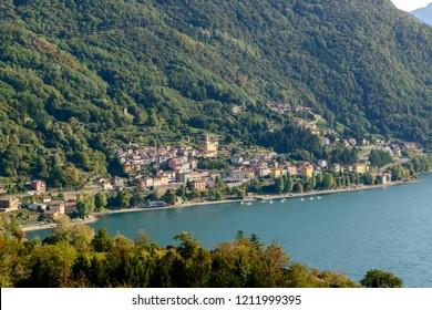 landscape of green lake coast of Como lake with Dorio village