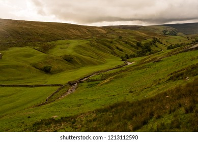 Landscape with green meadow, stone walls, dry stone walls, panorama, Yorkshire Dales, UK