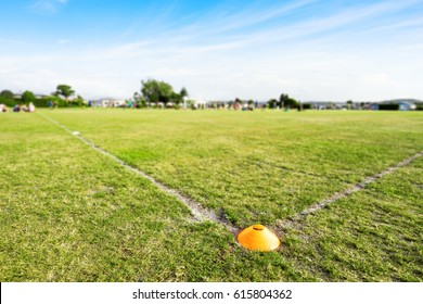 landscape of green rugby field in blue sky