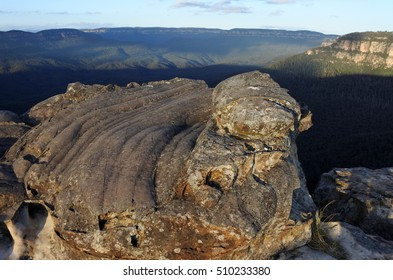 Landscape of the Grose Valley from Lincoln Rock Lookout at sunrise  located within the Blue Mountains New South Wales Australia