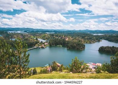 Landscape of the Guatape dam in Antioquia - Colombia
