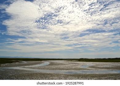 Landscape in Guerrero Negor, Baja California, Mexico blue sky and water