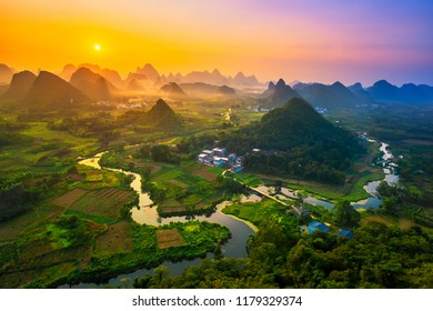 Landscape of Guilin, China. Li River and Karst mountains called Cuiping or Five Finger mount located at Guangxi Province, China.