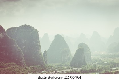 Landscape of Guilin, Karst mountains. Located near Yangshuo, Guilin, Guangxi, China.