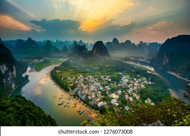Landscape of Guilin , Li River and Karst mountains called Laozhai mount, Guangxi Province, China