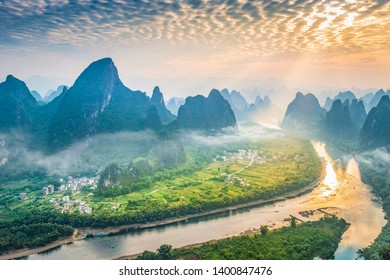 Landscape of Guilin. Li River and Karst mountains in the morning. Located near Xingping, Yangshuo, Guilin, Guangxi, China.