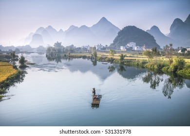 Landscape of Guilin, Li River and Karst mountains. Located in Yangshuo County, Guilin City, Guangxi Province, China.