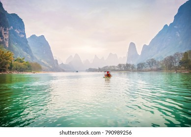 Landscape of Guilin, Li River and Karst mountains. Located near The Ancient Town of Xingping, Yangshuo County, Guilin, Guangxi, China.