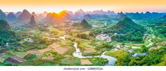 Landscape of Guilin. Located near Yangshuo, Guilin, Guangxi, China.