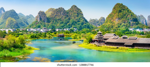 Landscape of Guilin. Located in Guilin Shangri-La, Yangshuo, Guilin, Guangxi, China.