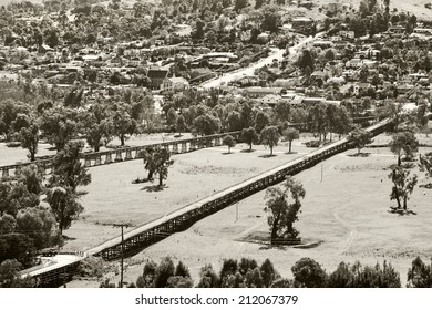 The landscape at Gundagai is dominated by four bridges spanning the Murrumbidgee flats: the historic Prince Alfred Bridge, the timber Railway Bridge, .built in 1866