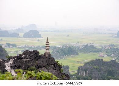 Landscape Hang Mua (Mua Cave) in NinhBinh, Long hike up the Hang Mua stairs to this view overlooking Ninh Binh, Vietnam.