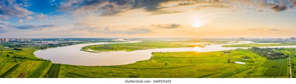Landscape of Harbin. Songhua River. Located in Harbin, Heilongjiang, China.