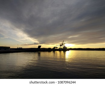 The landscape of the harbor in Larvik, Norway in the evening.
