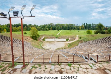 Landscape with Hellenistic Theater at the Archaeological Site of Dion. Pieria, Macedonia, Greece
