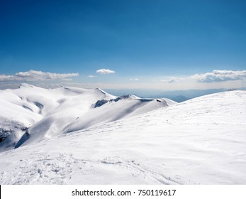 Landscape of Helmos mountain covered with snow in a sunny day,Kalavrita,Greece