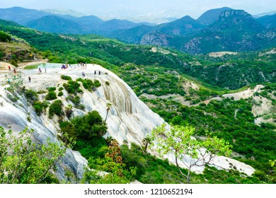 Landscape of Hierve el Agua, Oaxaca, Mexico. Panoramic view of the mountains from the hot springs of Hierve El Agua.