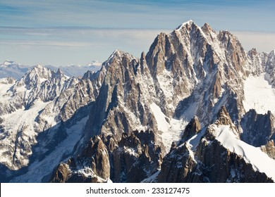 Landscape of high alps in the Mont Blanc massif, France