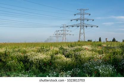 Landscape with high voltage pillar