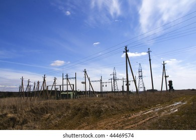 landscape with high voltage power line