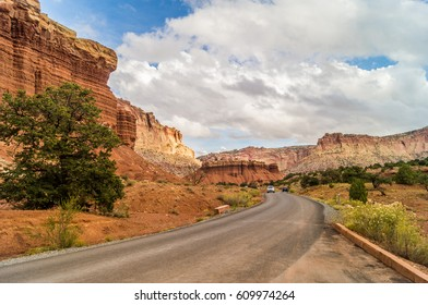 Landscape with  highway 24 through the Capitol Reef national Park; Utah; USA