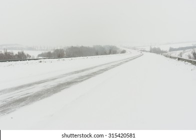 Landscape with highway and snow-drift near Dnepropetrovsk city, Ukraine
