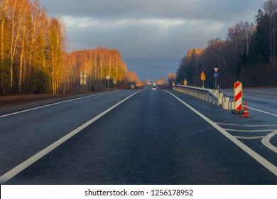 Landscape with a highway in the sunny day