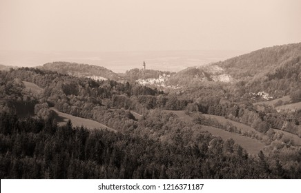 landscape with hills in Beskydy mountains, Czech Republic, in ochre tones