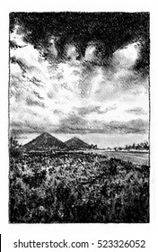 Landscape with hills. Charcoal drawing of landscape with the mountains on the horizon.