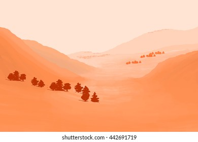 Landscape with Hills in red and pink illustration