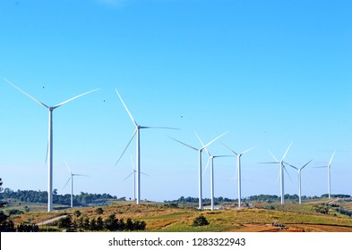 landscape with hills and wind turbines - Image