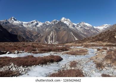 Landscape of Himalayas in Kanchenjunga region of Nepal.