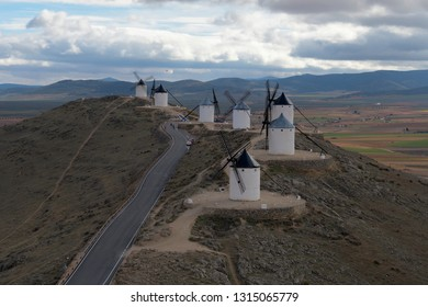 Landscape with historic windmills