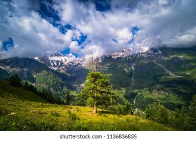 Landscape of Hohe Tauern range with beautiful mountains and cloudscape