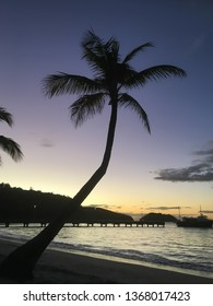 Landscape holiday view of Anse a l'Ane bay, with its beach, sand, landing stage, cocnut palm tree silhouette and peaceful Caribbean sea, under colorful sunset, Martinique, West Indies, Antilles.