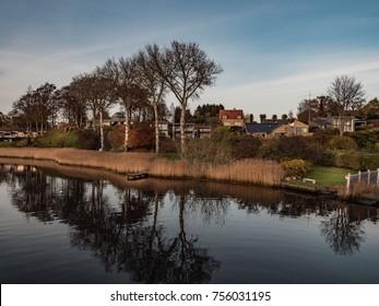 Landscape in Horsens, Denmark at sunset.