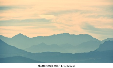Landscape with the Hottentots Holland Mountains in the morning light