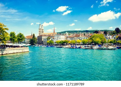 Landscape with houses and the Limmat river of Zurich in Switzerland