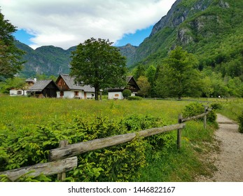 landscape with houses in Slovenia