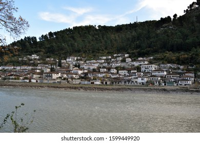 The landscape of houses, 'The City of 1000 Windows', in Berat, Albania